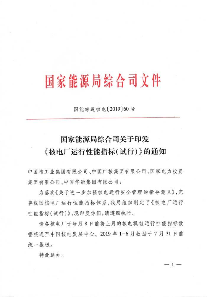 国家能源局综合司关于印发《核电厂运行性能指标(试行)》的通知